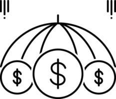 linje ikon för företagsförsäkring vektor