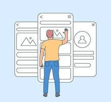 mobilapp utvecklingskoncept. användbarhetstestning av mobilskärm med människor. utvecklingsprogramvara Ui och UX gränssnittssida. platt vektorillustration