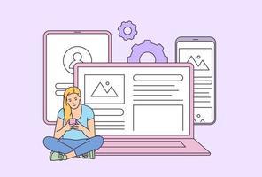 teknik, sociala medier, arbete, affärsidé. ung kvinnaflicka som använder flera enheter. platt vektorillustration