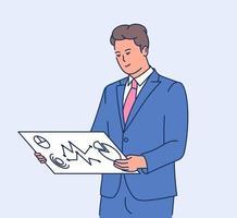 Geschäftskonzept Dateninformation. junger kluger Geschäftsmann, der Dateninformation auf dem Bildschirm analysiert. flache Vektorillustration