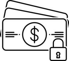 linje ikon för betalningsskydd vektor