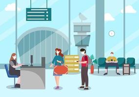 neue normale Vektorillustrationen Menschen in Masken beobachten soziale Distanzierung im Innenflughafen vektor
