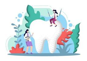 Zahnarztpraxis flache Farbabbildung vektor