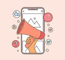 Mobile Marketing und digitales Marketingkonzept. Hand hält Megaphon, das vom Smartphone herauskommt. flache Vektorillustration