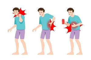 uppsättning man känner smärta i olika delar av kroppen. personer i migrän nacke och huvudvärk, ryggvärk och magont smärtsamma zoner. vektor