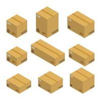 Satz isometrischer Pappkartons, Pakete lokalisiert auf weißem Hintergrund. flache Gestaltung der Vektorillustration.