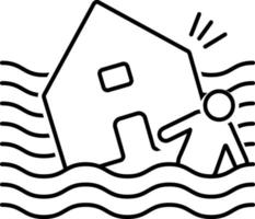 linje ikon för översvämning orkan vektor