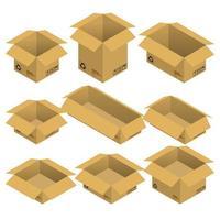 Satz isometrischer offener Pappkartons, Pakete lokalisiert auf weißem Hintergrund. flache Gestaltung der Vektorillustration.