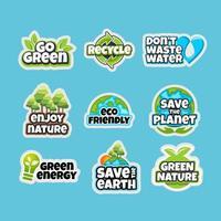 Earth Day Awareness Sticker Set vektor