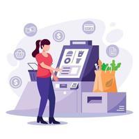 platt design untact betalning shopping vektor