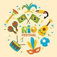 Brasilien Rio Festival Ikone vektor