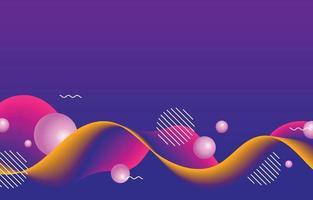 Hintergrundkonzept der bunten Wellen und der Kugeln vektor