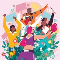 Frauenmarsch in Mehrfachberufen Konzept vektor