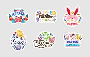 Happy Easter Sticker Design Set vektor