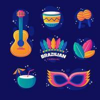 brasiliansk karnevalsuppsättningsikon vektor