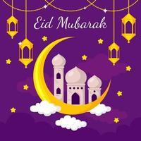 eid mubarak i platt designstil vektor