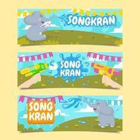 Songkran Festival mit Elefanten und Wasserpistolen vektor