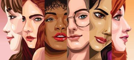 Vielfalt der Frauen auf der ganzen Welt vektor