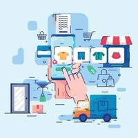 Online-Shop mit neuem Normalkonzept vektor