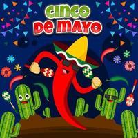 cinco de mayo festival med chili karaktär vektor