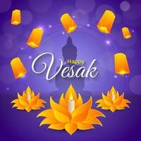 glad vesak med sky lantern festival vektor