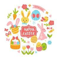 glad påsk söt och färgglad ikonuppsättning