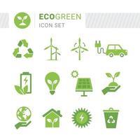 eko grön ikonuppsättning vektor
