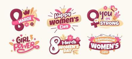Frauentag Aufkleber Sammlung vektor