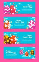 färgglada påskägg banner samling samling