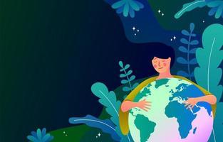 jordens dagbakgrund med kvinnan som håller jorden vektor