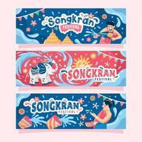 süßes Songkran Festival Banner vektor