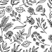 nahtloses Muster der Botanik-Linienkunst vektor