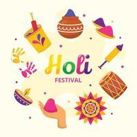 Holi Festival Attribut Icon Set vektor