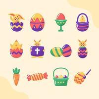 niedliches Osterfest Ikonensatz vektor