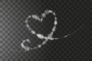 hjärtformade snöflingor i platt stil i kontinuerliga draglinjer. spår av vitt damm. magisk abstrakt bakgrund isolerad på bakgrunden. mirakel och magi. vektor illustration platt design.
