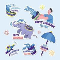 Songkran Festival Aufkleber Sammlung vektor