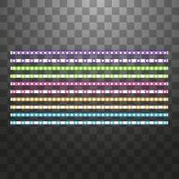 verschiedene LED-Streifen auf schwarzem Hintergrund, leuchtende LED-Girlanden. vektor