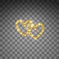 Gold Glitter Vektor Herz. golden funkeln st. Valentinstagskarte. Luxus-Design-Element. Bernsteinpartikel Hintergrund.