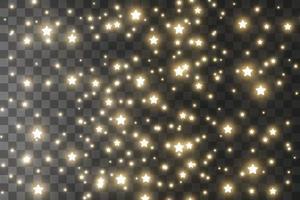 dammgnistor och gyllene stjärnor lyser med speciellt ljus. vektor gnistrar bakgrund. jul ljuseffekt. gnistrande magiska dammpartiklar.
