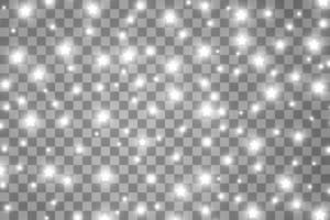Die Staubfunken und weißen Sterne leuchten mit besonderem Licht. Vektor funkelt Hintergrund. Weihnachtslichteffekt. funkelnde magische Staubpartikel.