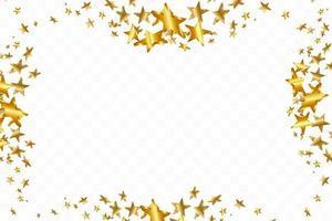 3d stjärna faller. guldgul stjärnklar bakgrund. vektor konfetti stjärna bakgrund. gyllene stjärnbelyst kort. konfetti faller kaotisk dekor.
