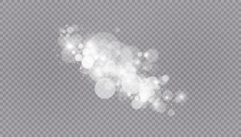 Glühender Lichteffekt mit vielen Glitzerpartikeln isolierter Hintergrund. Vektor Sternenwolke mit Staub. magische Weihnachtsdekoration