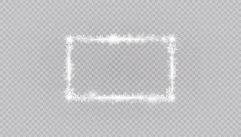 rechteckige Winter Schneerahmen Grenze mit Sternen, funkelt und Schneeflocken Hintergrund. festliche Weihnachtsfahne, Neujahrsgrußkarte, Postkarte oder Einladungsvektorillustration vektor