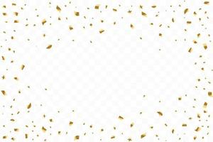 viele fallende luxuriöse goldene Konfetti. Geburtstagsfeier. Vektorillustration