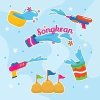 Songkran vattenfestival ikon vektor