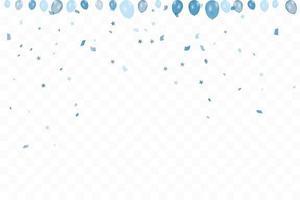 pojkens födelsedag. Grattis på födelsedagen bakgrund med blå ballonger och konfetti. fest evenemangsfest. mångfärgad. vektor