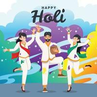 Mann und Frau feiern Holi Festival vektor