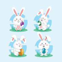 glad kaninkaraktär med äggpåsk