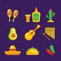 uppsättning cinco de mayo festival ikoner
