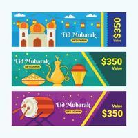 uppsättning eid mubarak festival kuponger vektor